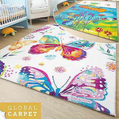 Kids Rug Picasso Collection Colourful Butterfly + Frog Design Childrens Play Mat