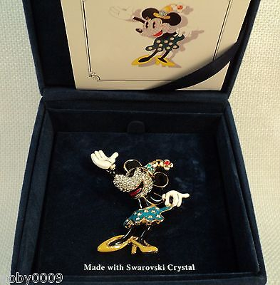 Signed Swan Swarovski Gold Plated Minnnie Mouse Brooch Pin