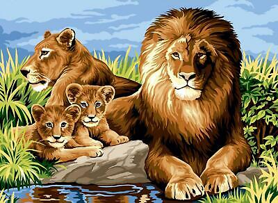SEG de Paris Tapestry/Needlepoint Canvas – Lion Family (La Famille)