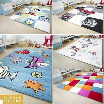 Kids Rug Ronda Collection Colourful Birds Cars Pirate Designs Childrens Play Mat