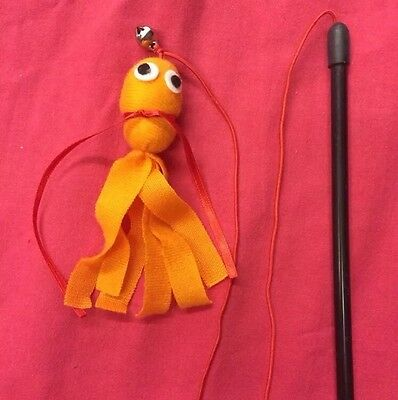 Cat Kitten Toy Catnip Octopus Dangler And Bell Interactive Orange