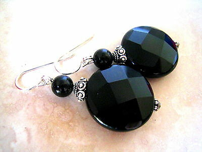 BLACK ONYX Faceted 20mm Flat Round BALI Sterling Earrings
