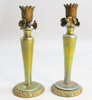 Rare Pair of Steuben Aurene Art Nouveau Glass Candlesticks  c. 1910  antique
