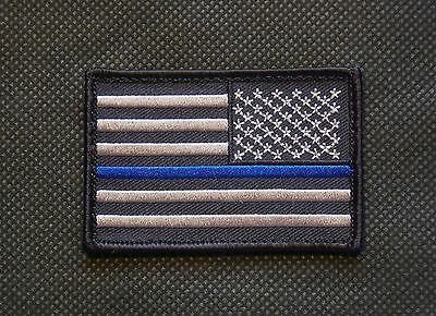 Thin Blue Line Reverse United States Flag Patch Police SWAT VELCRO® Backing