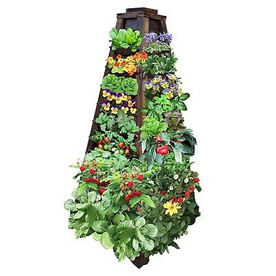 Earth Tower Vertical Garden 4-sided Wooden Planter on Wheels Plants Vegetables