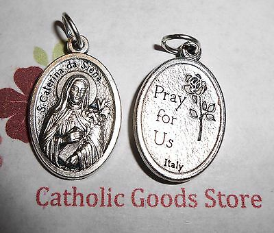 Saint St. Catherine of Sienna / Pray for Us - Ox Die Cast Italian 1 inch Medal