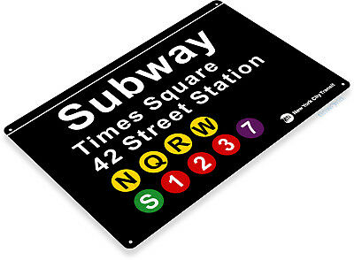 "TIN SIGN ""Subway Times Square"" 42 Street Metal New York Garage Store A771"