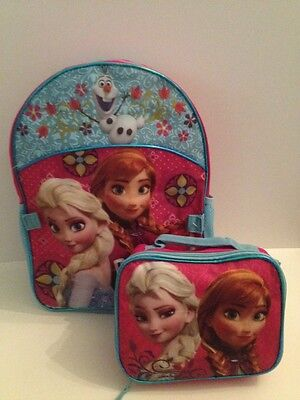 Disney Frozen Girl Backpack Lunch Box  Bag Set Aqua Blue Pink Anna Elsa Olaf #4