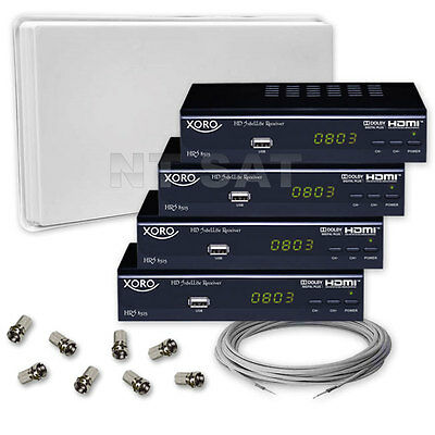 Complete with SELFSAT with Quad LNB and 4 Digital HD Receiver Xoro HRS 8525