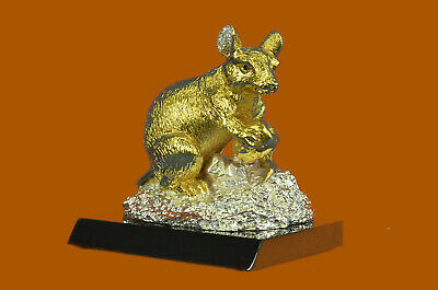 Bronze Sculpture Gold And Silver Plated Rat Mouse Rodent Hot Cast Figurine DEAL