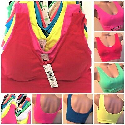 Sport Bras Yoga Active Wear Workout 1 or 3 Bra 6 Seamless TOP CAMISOLE  S-2XL