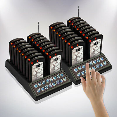 32 Restaurant Coaster Pager / Guest Wireless Paging Queuing System POS