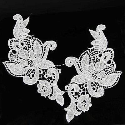 1 Pair Venise Costume Sewing White Floral Embroided Flower Lace Trims Applique