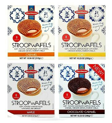 Daelmans Original Dutch Stroopwafels Wafers Caramel, Honey, Maple, Chocolate Box