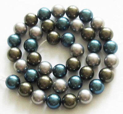 "SOUTH SEA SHELL PEARLS 10mm Round Loose Beads 16"" Strand Blue Silver SS2"