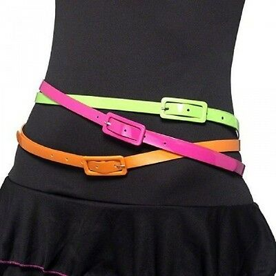 Ladies 1980s Neon Fluorescent BELTS Disco Fancy Dress Costume Accessory