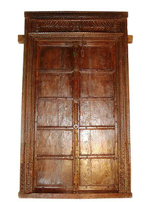 Dark honey-colored antique door from India about 120J / Rajasthan