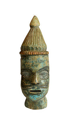Old wooden mask sculpture Portrait India Gujarat Luxury Park