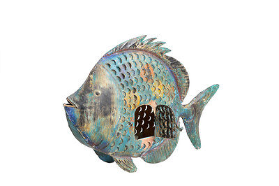 Blue-green fish Metal Sculpture India Luxury Park