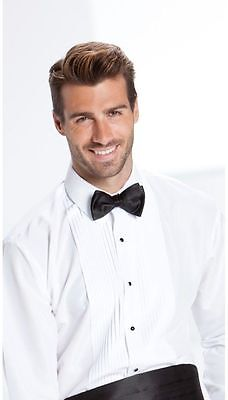 NEW Mens White Laydown Spread Collar Pleated Tuxedo Shirt Wedding Prom ALL SIZES