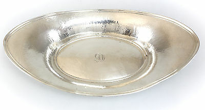 """Watson Company Sterling Silver Oval Dish 11.5""""; c1920 Hand Hammered & Wrought"""