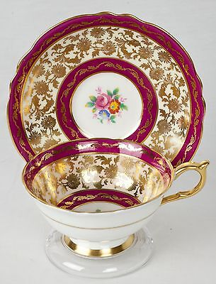 Vintage Paragon Dark Pink Gold Gilded Tea Cup and Saucer - England