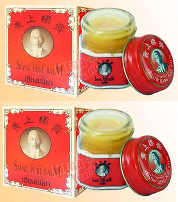 2 x 12g. SIANG PURE PEPPERMINT MENTHOL BALM RED FORMULA MASSAGE RELIEF PAIN