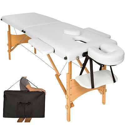 Lightweight portable massage table folding therapy beauty white 2zones + bag new