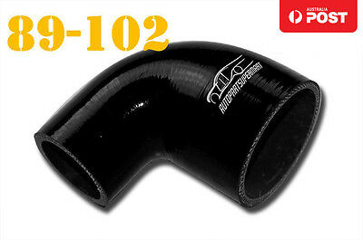 """4 Ply Silicone 90 Degree Reducer Elbow Joiner Hose Pipe 89mm-102mm 3.5""""-4"""" Black"""