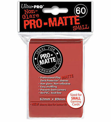 60 ct Small Pro-Matte Red Deck Protector Card Sleeves | Ultra Pro Yugioh +