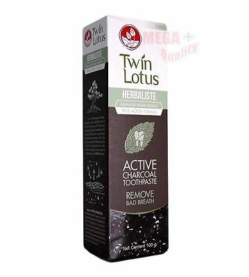 Twin Lotus HERBALISTE ACTIVE CHARCOAL HERBAL TOOTHPASTE REMOVE BAD BREATH 100g