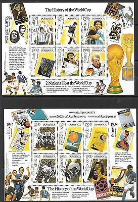 DOMINICA SG3155a/61a 2001 WORLD CUP FOOTBALL SHEETLETS  MNH