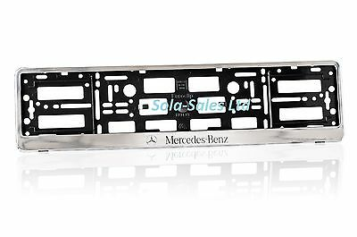 "2 x MERCEDES-BENZ ""CHROME"" EFFECT NUMBER PLATE HOLDER SURROUND CAR ABS PC"