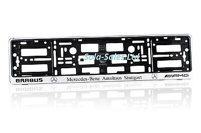 2 x MERCEDES-BENZ AMG BRABUS SILVER EFFECT NUMBER PLATE HOLDER SURROUND CAR