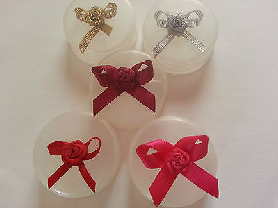 Pack 10 Gold Silver Pink Red Burgundy Ribbon Bows Applique Motif Embellishment