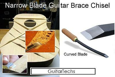 """USA MADE GuitarTechs 1/4"""" WIDE CURVED BLADE CHISEL for Guitar Brace / Body Work"""