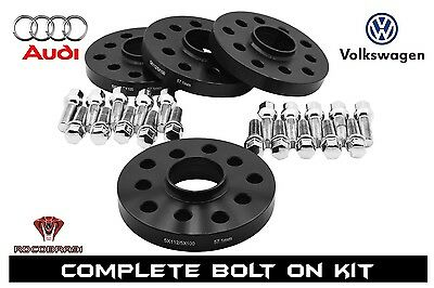 2PC 25MM THICK  5X100 57.1MM BORE WHEEL SPACER+14x1.5 55MM BALL SEAT BOLT FIT VW