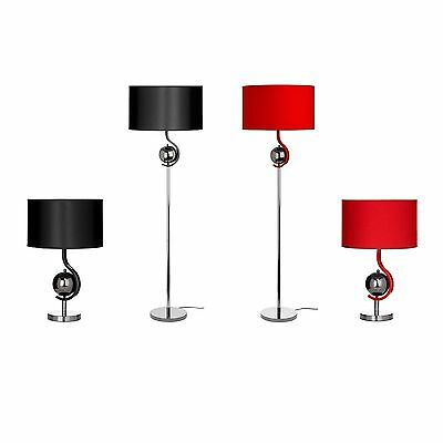 Bedside Table & Floor Lamp in Metal/Fabric Shade for Home Living & Dining Rooms