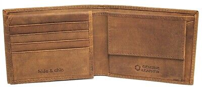 RFID Security Lined Vintage Wallet. Quality Cow Hide Hunter Leather. 12041