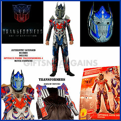 Transformers 4 Optimus Prime Dlx Movie Muscle Costume Boys S; M/L Free Gloves