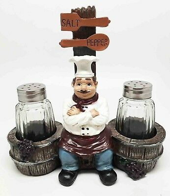 Sitting French Chef Pierre and Barrels Glass Salt and Pepper Shaker Set Decor