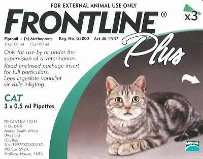 Frontline Plus For Cat (8 Weeks or Older) 3 or 6 Doses Flea & Tick Control