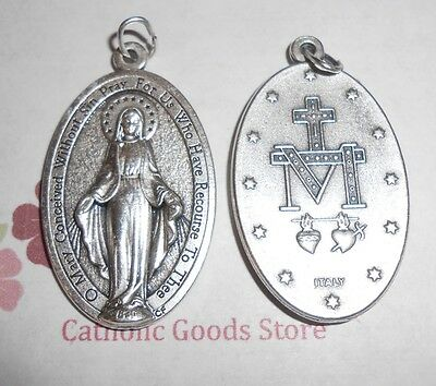 X- Large Miraculous Medal - 1 3/4 inch Oxidized Italian Silver Cast Medal