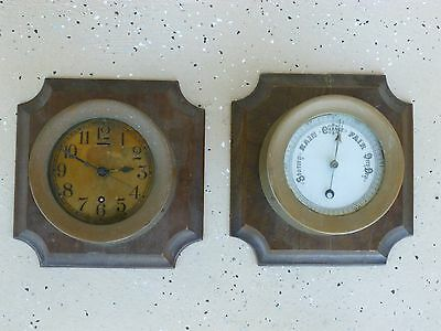 Vintage English Brass Ships Clock And Barometer On Wood Plaque