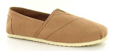 """Mens Spot On Tan Canvas Slip On Shoes """"a1078"""""""