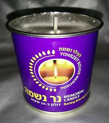 Ner Neshama Memorial Yahrzeit Yortsayt Candle Zikaron Kosher 24Hr Burning Time
