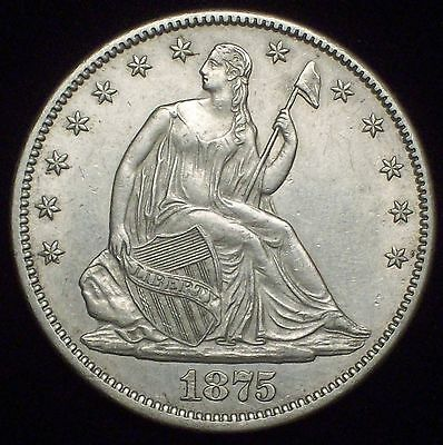 1875 CC Seated Liberty *SILVER* HALF Dollar - Strong AU+/UNC Detailing Authentic