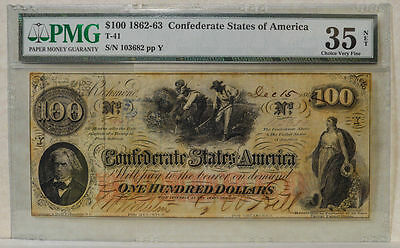 T-41 $100 1862 Confederate States of America One Hundred Dollar Bill PMG 35 VF