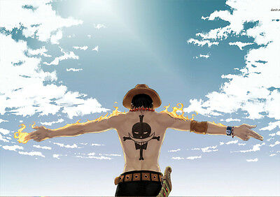 Sticker Autocollant Poster A4 Manga One Piece. Portgas.d.ace Poing Ardent Luffy