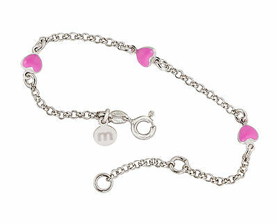 925 Sterling Silver Babies/Childs Pink Heart Charm Bracelet - Made In Italy